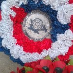 wreath from York Air Museum, home to a recreated Halifax Bomber from 158 Squadron