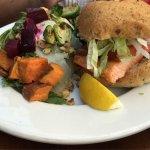 Salmon burger with harvest salad