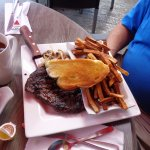 Rib eye steak and fries.