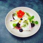 Salade de saison: fromage frais, betteraves rouges, endives, compoté de pommes et vignaire de ci