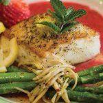 Chilean sea bass with strawberry puree