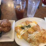 Ham, Cheese, & Egg Crepe with Hash browns & Raspberry Muffin