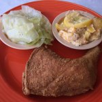 Fried Chicken Quarter with Cabbage and Squash Casserole