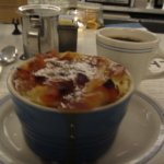 Challah Bread Pudding with Dried Apricot and Caramel Sauce