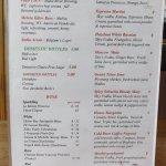Beer and cocktail menu