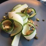 Scalops with squash and toasted pistacio nuts