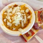 Chilli with cheese, onions & crackers from Olive Oatman Restaurant