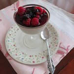 Do you cassis? that is cassis panna cotta with cassis and a melange of fresh berries..yum...
