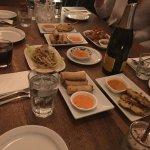 starters- spring rolls, prawns, chicken satay, salad...