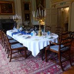 Dining room with table set