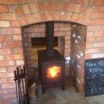 Log burner in action