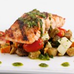 A delicious Salmon with Roasted Vegetables and Chimichuri