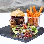 The Bedford pork burger, Asian braised belly pork, chilli & nigella focaccia bun, green papaya s