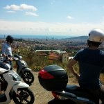 panoramic view of Barcelona by scooter