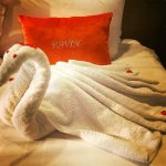 Monogrammed cushion and towel-art.