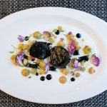 Black Curried Scallops - Cauliflower Puree and Pickled Cauliflower