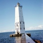 Frankfort lighthouse marks the entrance to the harbor