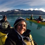 GoPro Selfie of us. Our guide Megan is in the green sleeves in the middle kayak.