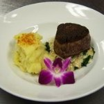 Filet Mignon with Gorgonzola Cheese Sauce and Sauteed Spinach