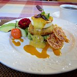 Jumbo Lump Crab Cake with Avocado Relish, Poached Egg, Yellow Pepper Paint and Sauce Maltaise
