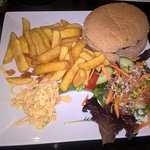 Vegetable burger with chips, coleslaw and salad. Yum, yum.