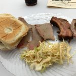 Ribs, Brisket sandwich & cole slaw.
