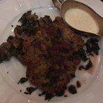 O rosbife com cogumelos.