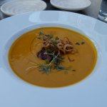 Butternut squash soup with Pork Belly