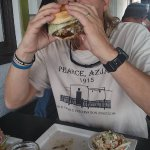 Nice big burger, and a beer