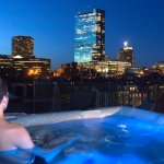 Our now famous hot tub on the roof with Boston Skyline views.