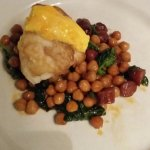Wonderfull main dish Monkfish , chorizo with chicpeas.