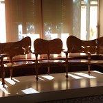 Gaudi designed wooden seats in Gaudi House