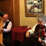 Martyn Cook - harp and Simon Watts - violin in the bar area