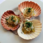 Seared scallops, leeks and oyster butter