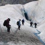 walking towards crevasse