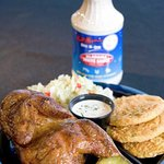 Bar-b-que chicken with fried green tomatoes and coleslaw.