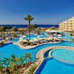 Panoramic vie of pool from high up rooms