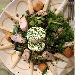 Pear and goat cheese salad with a small portion of grilled chicken