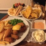 Room service! Scampi and chips, tuna baguette, nachos (random combo)