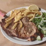 This is a pork stake I had at the restaurant it cost €7.50 very good value