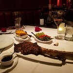Tomohawk steak (32oz chef's special), Flemings Potatoes & Asparagus