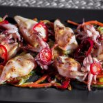 Txipirones en Escabeche  (Grilled Baby Squid with Pickled Vegetables)