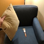 found a used paintbrush under pillow in the seat