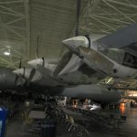 The three piston engines on wing of massive B-36 Peacemaker