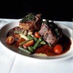 Lamb steaks, halibut and cream of potato soup