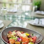 Lobster salad with pomegranate and foie-gras