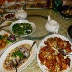 Garlic chicken, steamed Chilean seabass