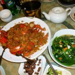 Double lobster with sweet rice, triple egg with vege