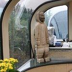 Inside the rail car, large windows