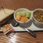 Soup, half sandwich, and fresh fruit in Coffee Garden Cafe